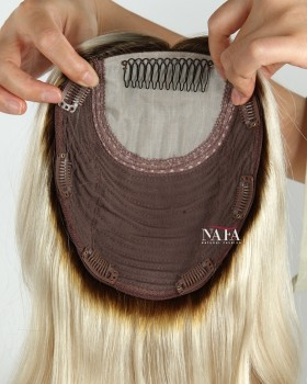 16 Inch Ombre Natural Curly Hair Toppers For Thinning Crown