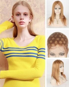 14 inch blonde highlight wig