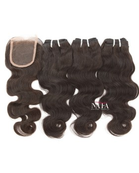 Virgin Brazilian Body Wave Hair 3 Bundles With Closure