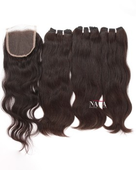 Cheap Human Hair 3 Bundles Natural Straight With 4 by 4 Closure