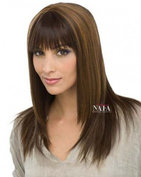 Nafawigs Straight Hair 1B/30 Highlighted Wigs With Bangs Black Wig With Red Highlights