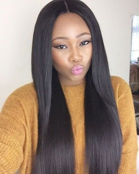 Popular Light Yaki Mid Or Medium Length Wig Real Human Hair