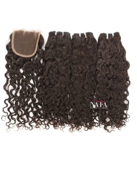Molado Curly Human Hair 3 Bundles With Closure
