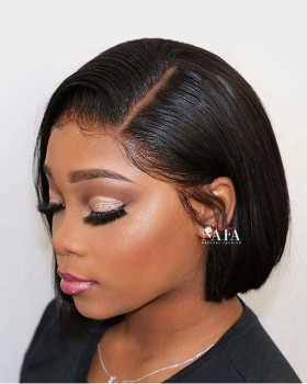 Short Hair 8 inch Blunt Cut Bob Wigs With Side Part Affordable Price
