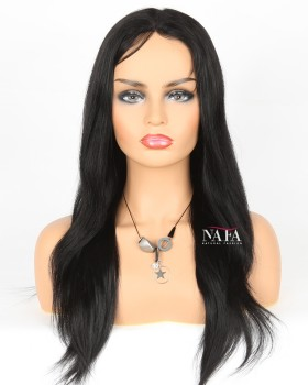 Popular Black Straight Wig Jet Black Hair Color 1 Lace Front Wig