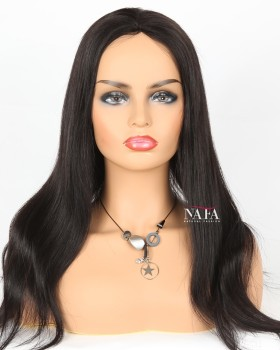 Gorgeous Long Straight Human Hair Wig Hair Color 1B Guleless Wig