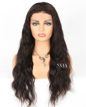 Long Black Wavy Lace Front Wig Human Hair