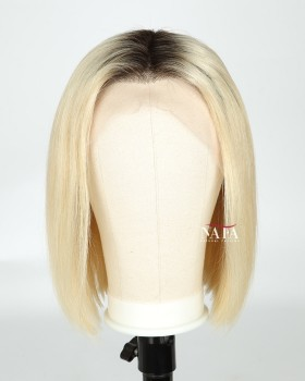 Amazing Blonde Ombre Bob Wig With Dark Roots Human Hair