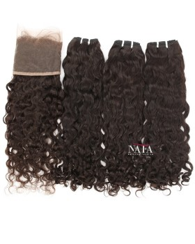 Natural Curly Human Hair 3 Bundles with 13x4 Frontal