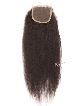 Kinky Straight Lace Frontal 4 By 4 Closure Virgin Brazilian Hair