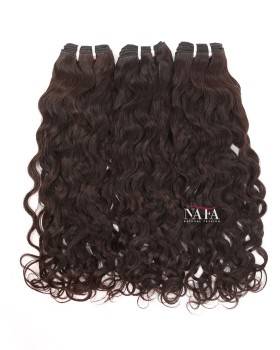 Long Natural Wavy Curls Hair Indian Virgin 3 Bundles