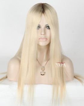 Nafawigs Long White Hair Wig White Lace Front Platinum Blonde Wig