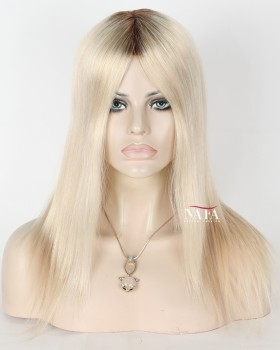 Medium Shoulder Length Blonde Wig With Brown Roots Platinum Blonde Wig