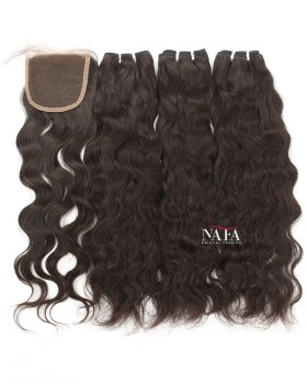 Gorgeous Natural Wave Hair 3 Bundles With 4x4 Closure