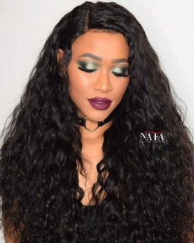 Surprising Black Spanish Wave Full Lace Wig Brazilian Virgin Hair