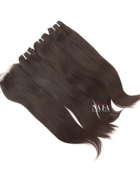 Italian Straight Hair 3 Bundles With 4x4 Lace Closure