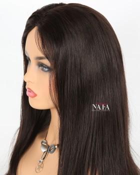 Amazing Long Straight Dark Brown Human Hair Wig