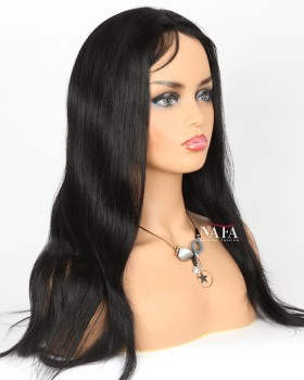 Popular Black Straight Wig Jet Black Hair Color 1 Lace Front Wig