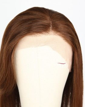 12 Inch Lace Front Bob Wigs With Bangs Brown Hair Color 4