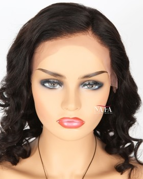 Short Black Loose Curly Lace Front Wig