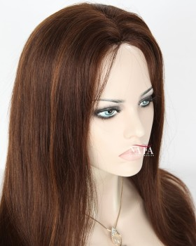 Exciting Medium Brown Hair With Red Highlights Straight Glueless Wig