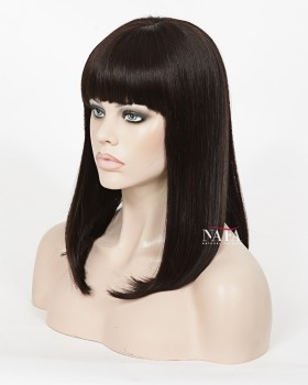 Unique Straight Black Bob Wig With Bangs Human Hair