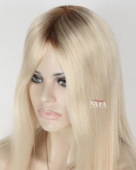 Medium Length Brown Roots Blonde Hair Wigs Platinum Blonde Straight Wig