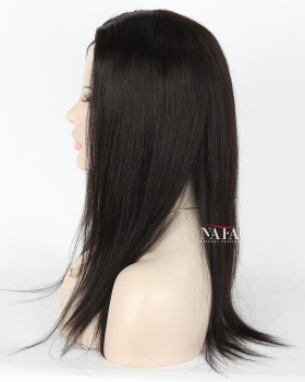Nafawigs Yaki Straight Human Hair Wig Silk Base Glueless Lace Wig