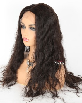 Long Brown Wavy Wig Natural Hair Color