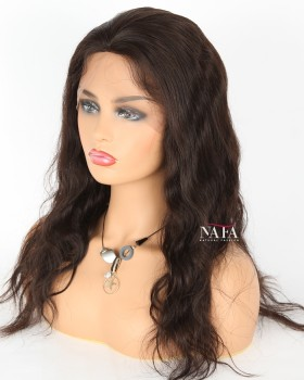 18 Inch Wig Brazilian Human Hair 130 Density Wavy Full Lace Wig