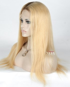 Gorgeous Blonde Ombre Lace Front Wig With Dark Roots