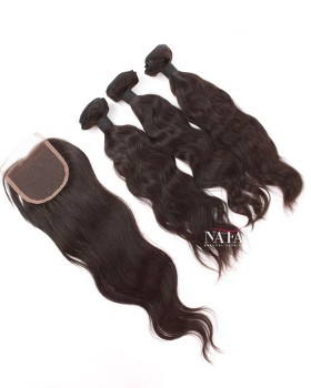 Cheap 3 Bundles Natural Straight Cambodian Hair  With 4x4 Lace Closure