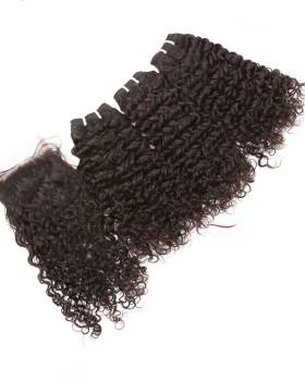 Virgin Brazilian Curly Hair 3 Bundles With 4x4 Closure