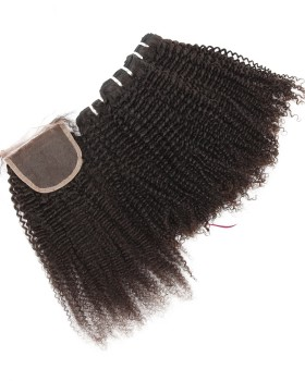 Afro Curly Hair Weave 3 Bundles With a 4 by 4 Lace Closure