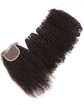 Jerry Curly Weave Hair Bundles With Closure