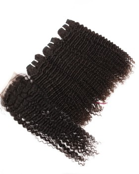 Brazilian Curly Human Hair With Closure