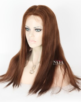Long Light Brown Hair Wig Color 4 Straight Silk Top Wig