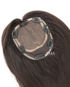 Human Hair Topper Silk Base Lace Closure With Baby Hair