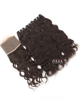 Natural Wave Hair 3 Bundles With Frontal