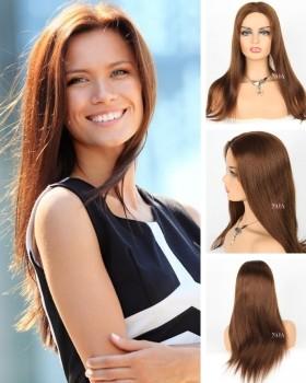 medium brown straight hair wig