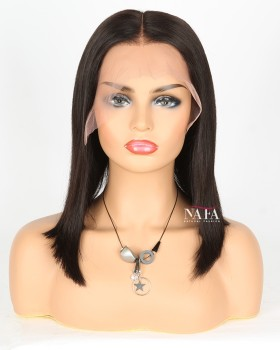 Straight Black Shoulder Length Middle Part Bob Wig